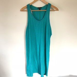 J Crew Green Blue Striped Racerback Dress